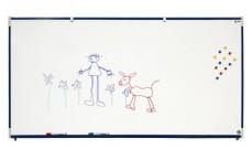 Piste graphique murale H60xL200 cm, alu naturel  émail e3 blanc feutre - Suremballage